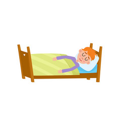 Funny little boy sleeping tight asleep in his bed vector