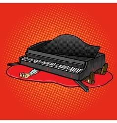 Grand piano fell on man pop art vector