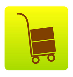 Hand truck sign brown icon at green vector