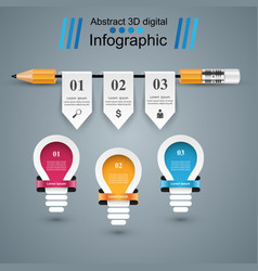 Infographic education bulb light pencil icon vector