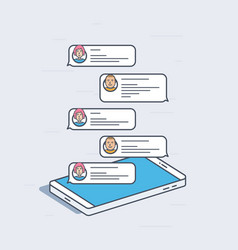 Isometric mobile phone with chat messages vector