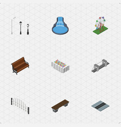 Isometric urban set of highway street lanterns vector