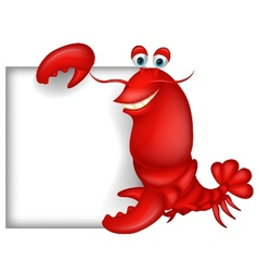 Lobster cartoon with blank sign vector image vector image