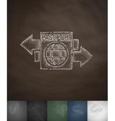 Passport icon hand drawn vector