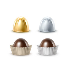Set of black bitter chocolate candies in foil vector