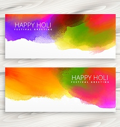 set of happy holi banners and headers vector image