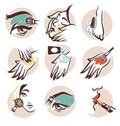 spa and beauty icons vector image vector image