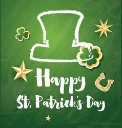 St patricks day card with golden stars and clover vector