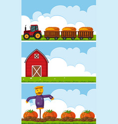 Three farm scenes with tractor and pumpkins vector