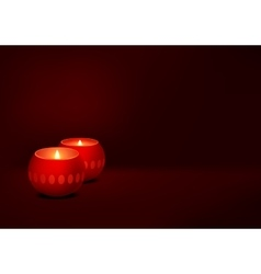 two candles red dark background vector image vector image