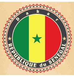 Vintage label cards of Senegal flag vector image vector image