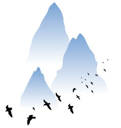 Watercolor mountain vector