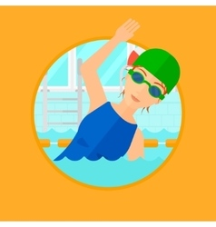 Woman swimming in pool vector