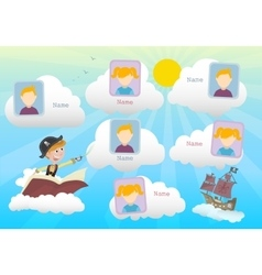 Yearbook about boy pirate and clouds vector