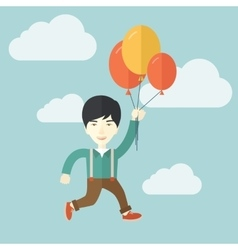 Young japanese man flying with balloons vector image
