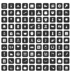 100 calendar icons set black vector