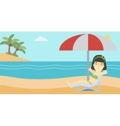 Woman relaxing on beach chair vector