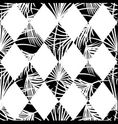 Harlequin rhombs and palm leaves seamless vector