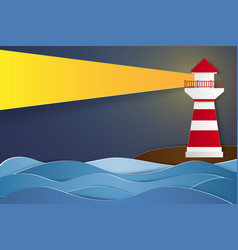 Lighthouse at night paper art style vector