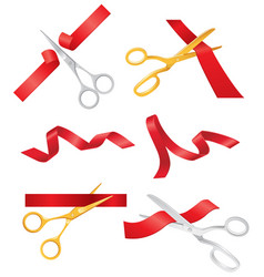 Ribbon and scissors - set of objects vector