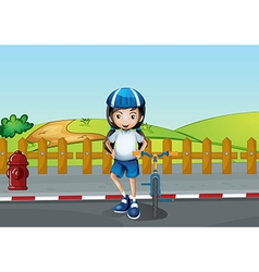 A girl resting at the roadside near the wooden vector image
