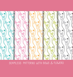 Set of seamless bows and flowers patterns vector