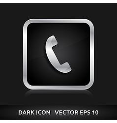 Phone icon silver metal vector