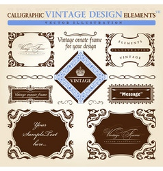 Vintage frame ornament set vector element decor vector