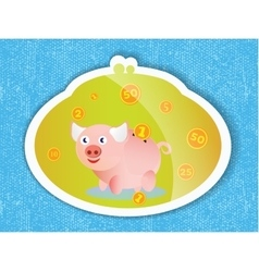 Piggy bank with coins and a pink piglet on blue vector