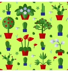Floral flat plants icons seamless pattern vector