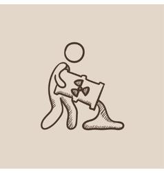 Man with oil barrel sketch icon vector image