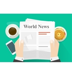 Business man hands holding newspaper with world vector