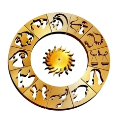 Zodiac signs on a gold disk io vector