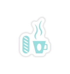 Paper sticker on white background cup of coffee vector