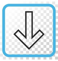 Arrow down icon in a frame vector