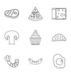 Brunch icons set outline style vector