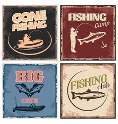 Fishing retro compositions vector