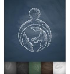 Globe icon hand drawn vector