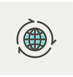 Globe with arrow around thin line icon vector image
