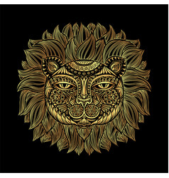 Golden lion head tribal pattern image of a lion vector