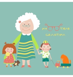 Grandmother with grandchildren vector image