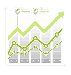 Green arrow up diagram on vector image vector image