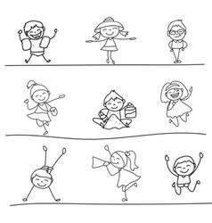 hand drawing cartoon character happy kids playing vector image