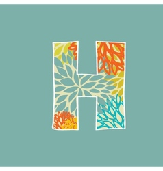 Hand drawn floral letter H isolated on blue vector image