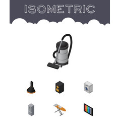 Isometric electronics set of vac kitchen fridge vector
