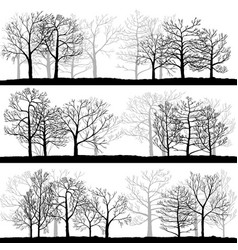Landscapes with winter trees vector