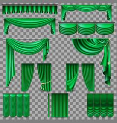Luxury set of golden velvet silk curtains eps 10 vector