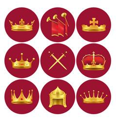 Medieval kings attributes in scarlet circles set vector