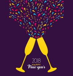 new year 2018 color party drink glass toast card vector image vector image