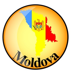 orange button with the image maps of Moldova vector image vector image